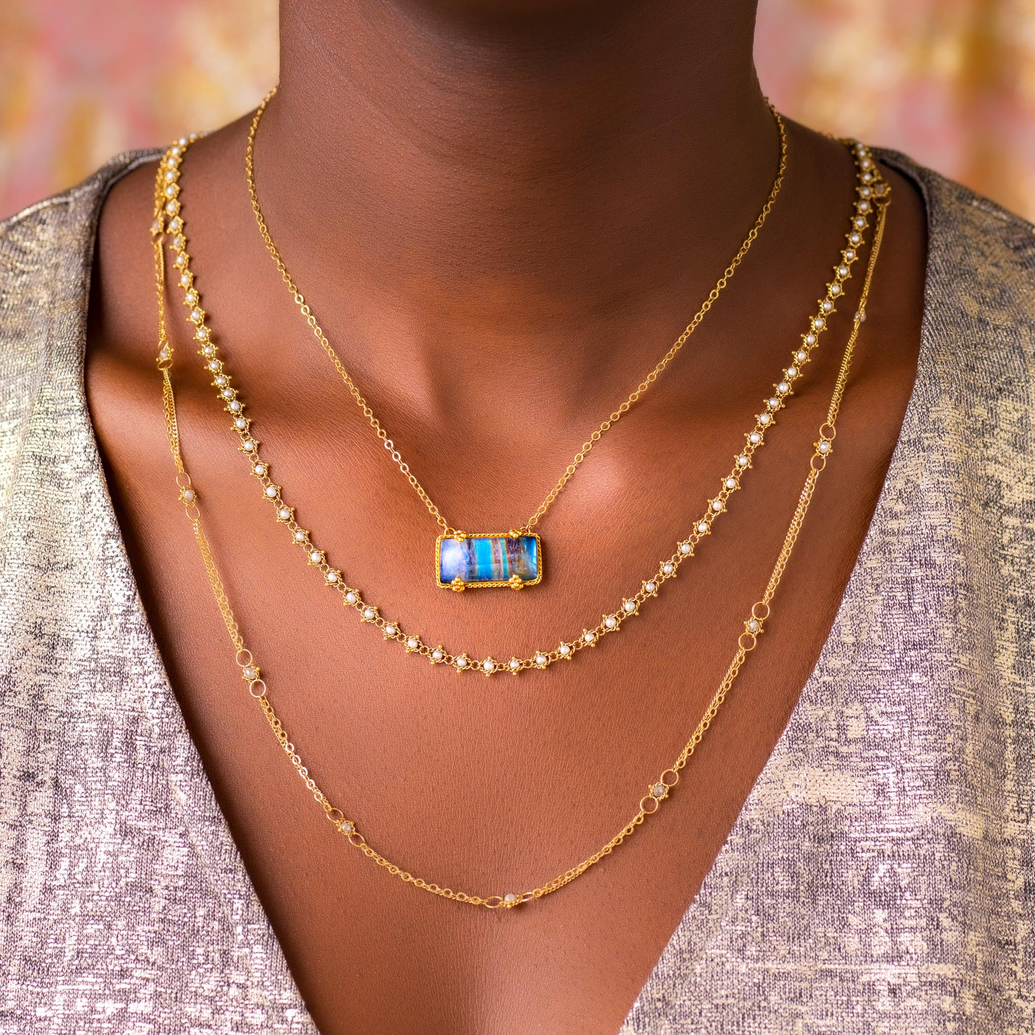 Amali-Moonstone Landscape Necklace