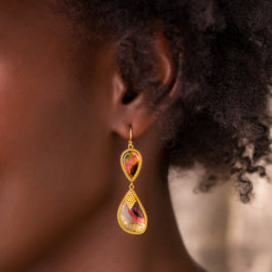 Amali-Watermelon Tourmaline Slice Earrings
