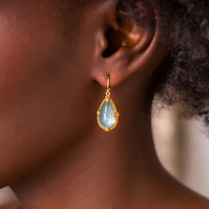 Amali-Aquamarine Teardrop Earrings