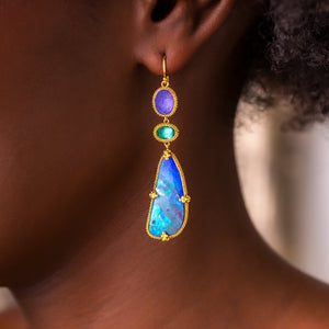 Boulder Opal Butterfly Wing Earrings