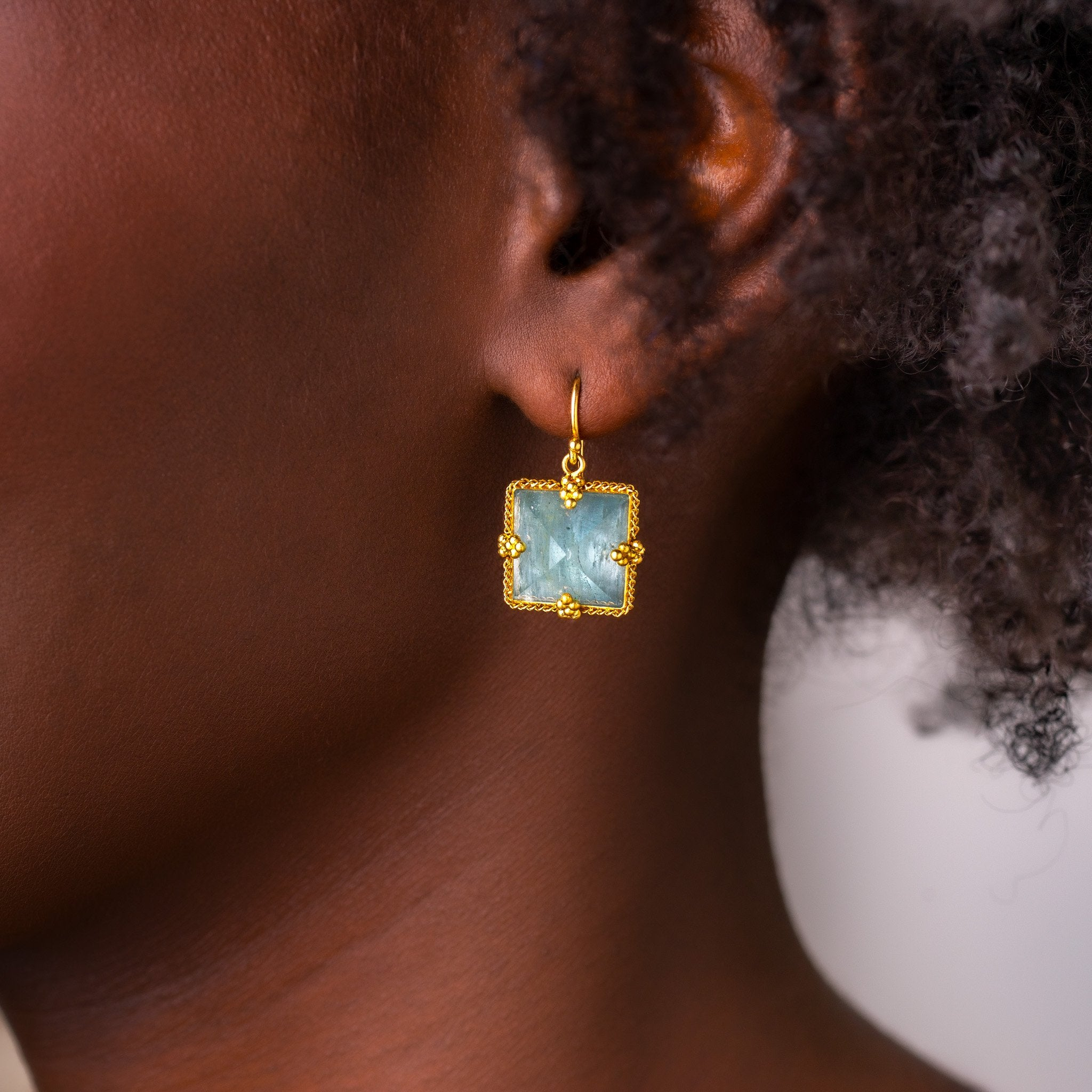 Amali-Square Aquamarine Earrings