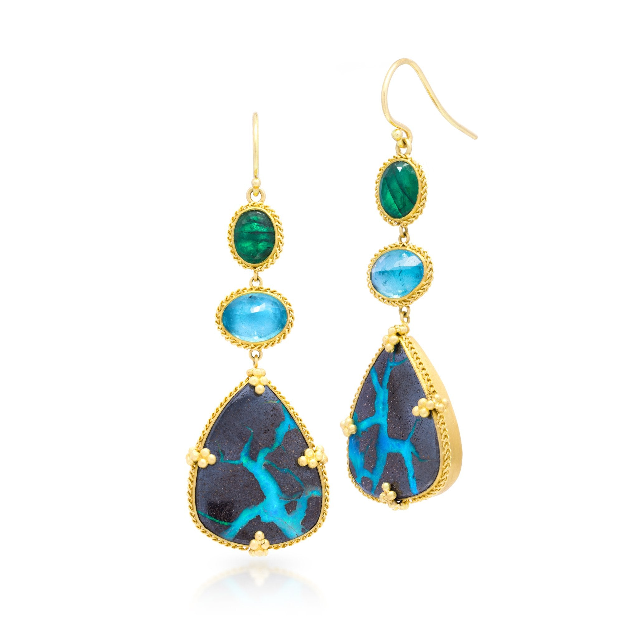 Amali-Blue Lightning Earrings