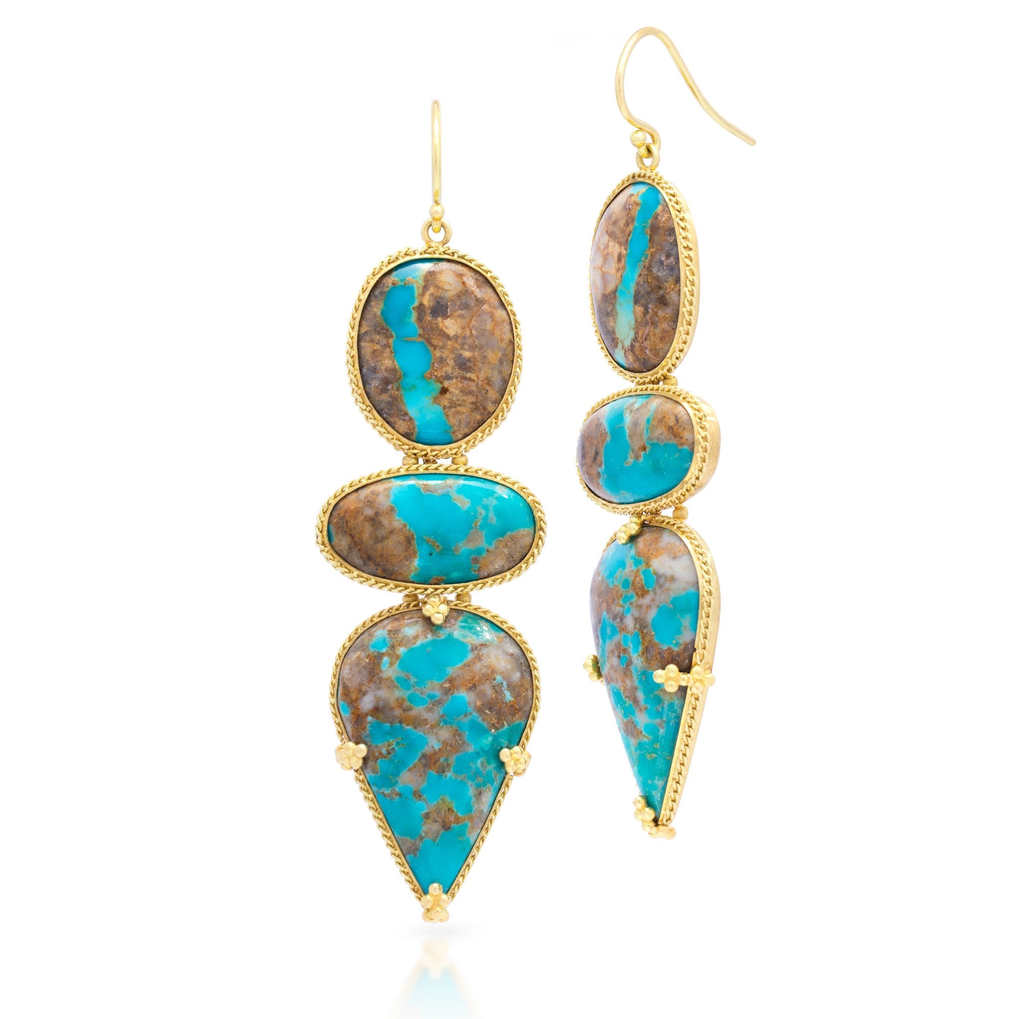 Amali-Turquoise Triple Drop Earrings
