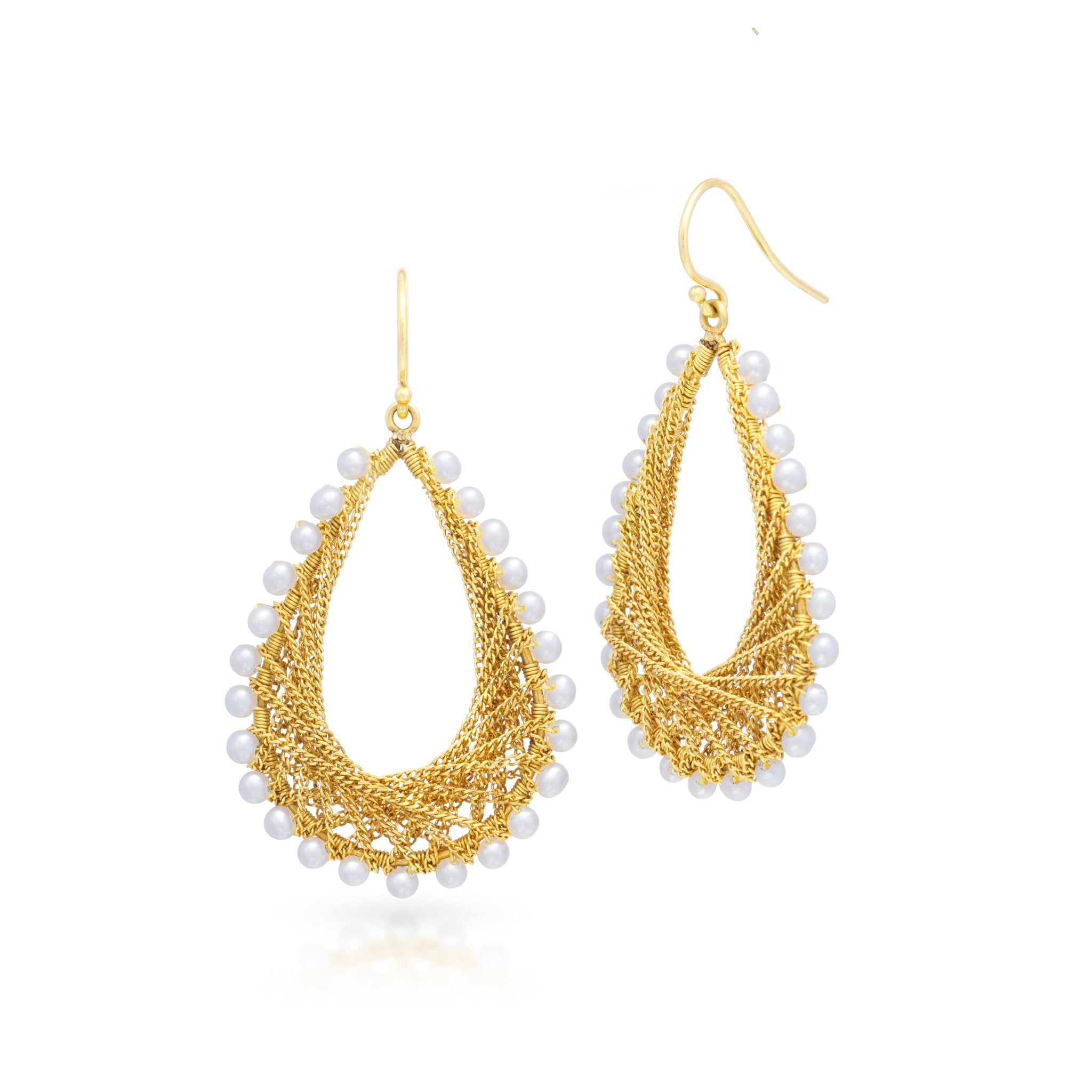 Woven Teardrop Earrings in Pearl