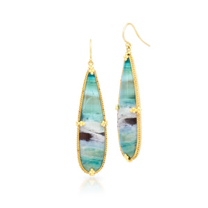 Blue Opal/Petrified Wood Earrings