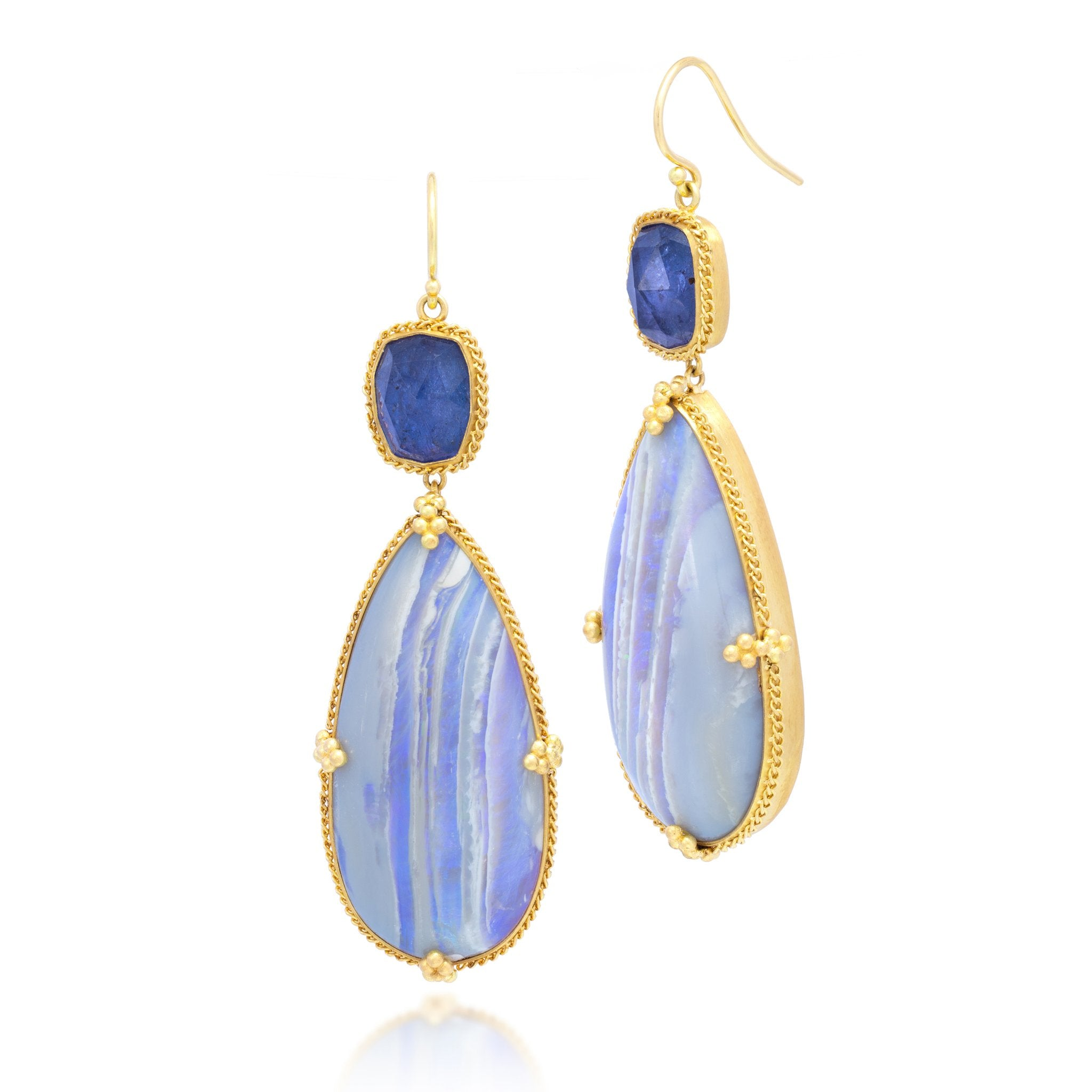 Amali-Lavander Lightning Ridge Opal Earrings