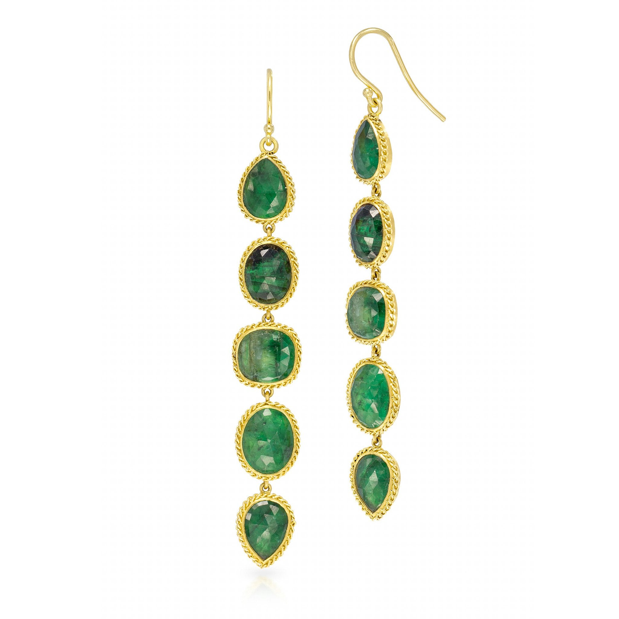 Amali-Emerald Pebble Earrings
