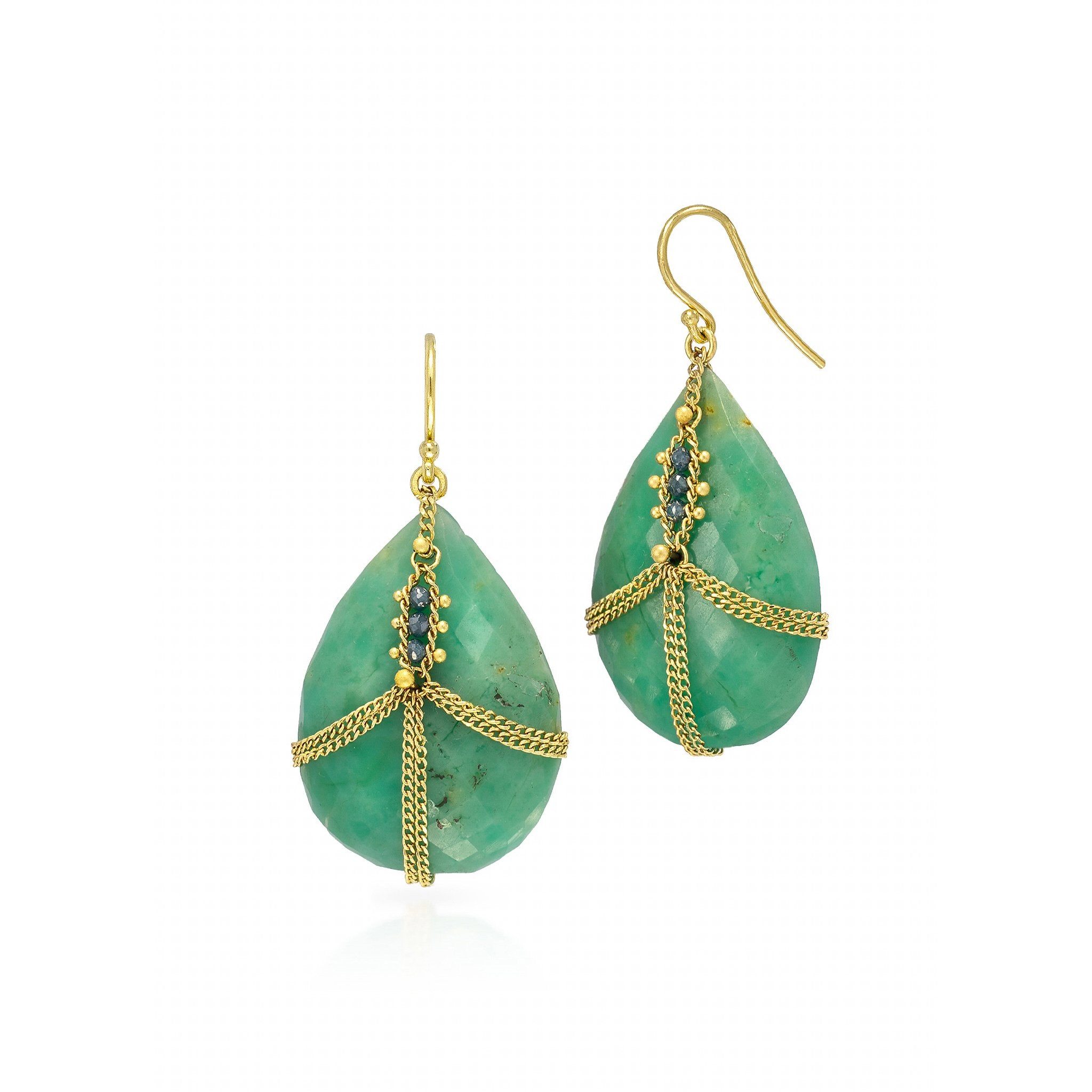 Amali-Draped Chrysoprase with Blue Diamonds