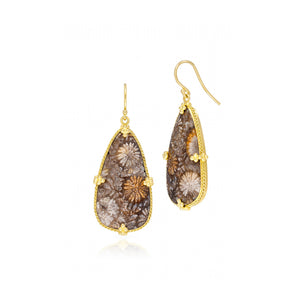 Amali-Fossilized Coral Earrings