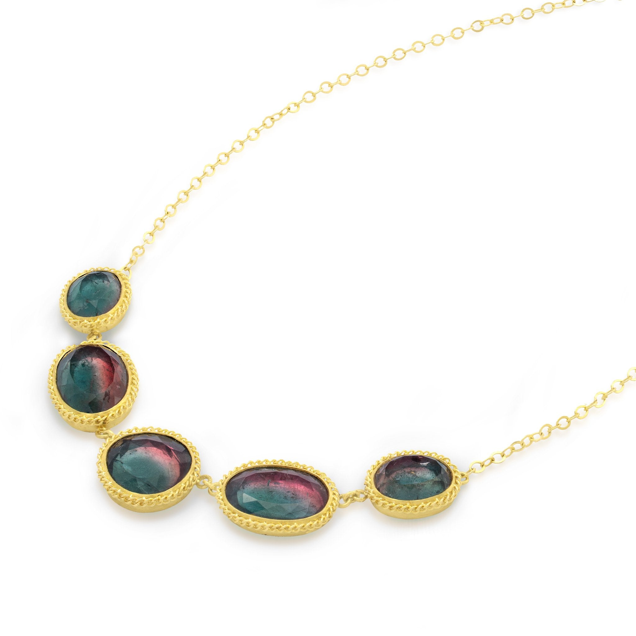 Amali-Bi-Color Tourmaline Pebble Necklace