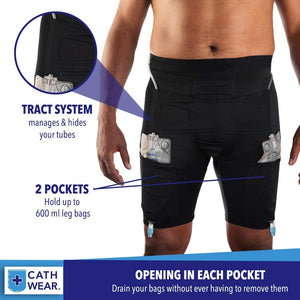 CathWear ™ Men Catheter Underwear Compatible with Foley, Nephrostomy, Suprapubic, and Biliary Catheters. Holds (2) 600ml Leg Bags (White, Black, Nude)