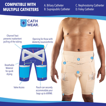 Load image into Gallery viewer, CathWear ™ Men Catheter Underwear Compatible with Foley, Nephrostomy, Suprapubic, and Biliary Catheters. Holds (2) 600ml Leg Bags (White, Black, Nude)