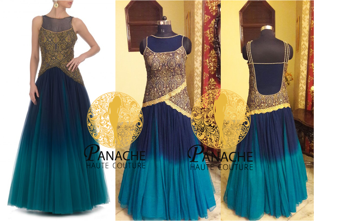 Aqua Color Indo Western Gown - Replica Made by Panache Haute Couture