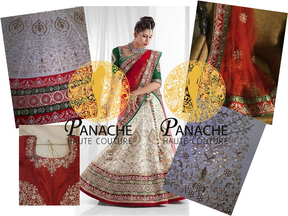 Ivory Color Bridal Lehenga Choli - Replica Made by Panache Haute Couture