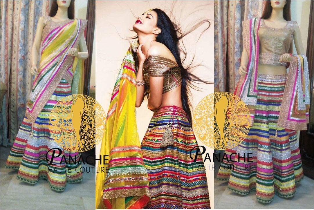 Multicolor Laces Party Wear Lehenga Choli - Replica Made by Panache Haute Couture