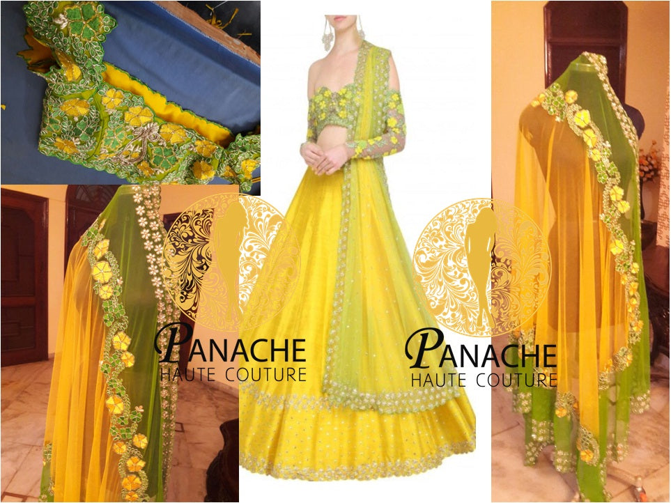 Yellow color party wear lehenga choli - Replica Made by Panache Haute Couture