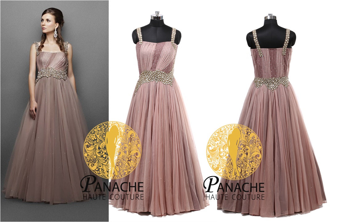 Light Brown Color Gown - Replica Made by Panache Haute Couture