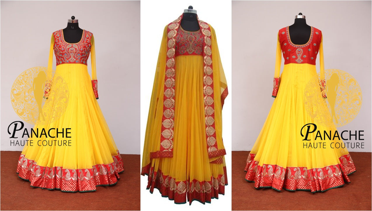 Yellow Color Floor Length Anarkali-Replica Made by Panache Haute Couture