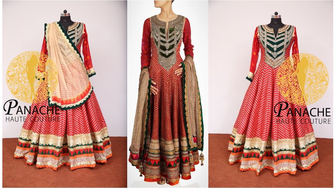 Red Color Floor Length Anarkali-Replica Made by Panache Haute Couture
