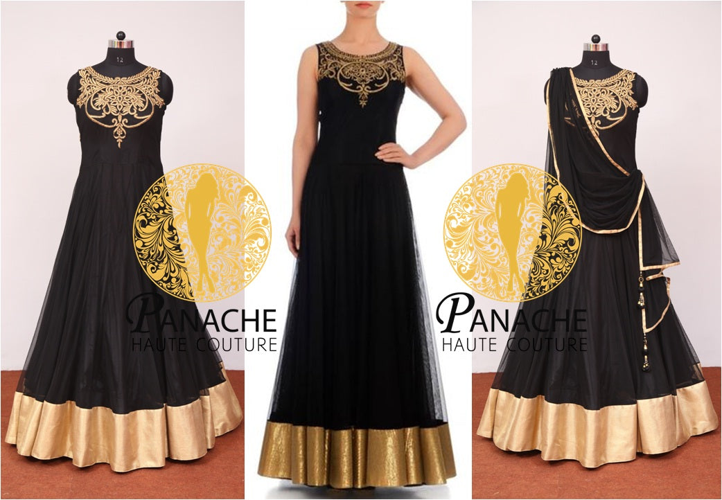 Black Color Floor Length Anarkali - Replica Made by Panache Haute Couture
