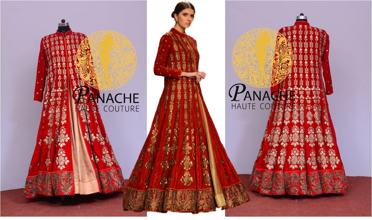 Red Color Jacket Lehenga - Replica Made by Panache Haute Couture