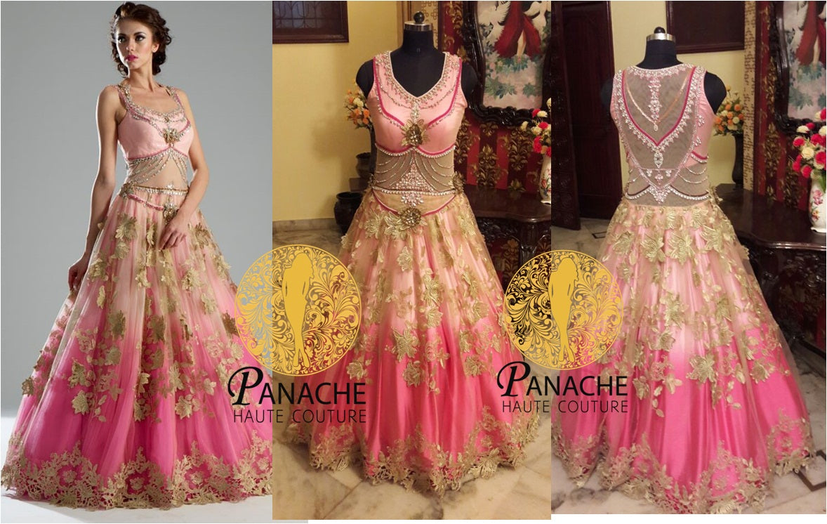 Pink Color Shaded Gown - Replica Made by Panache Haute Couture