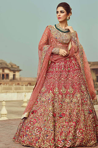 Coral Red Color Wedding Lehenga