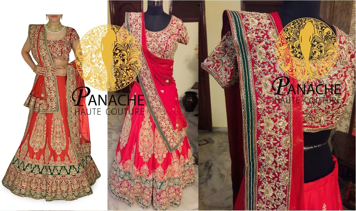Red color bridal lehenga choli - Replica Made by Panache Haute Couture