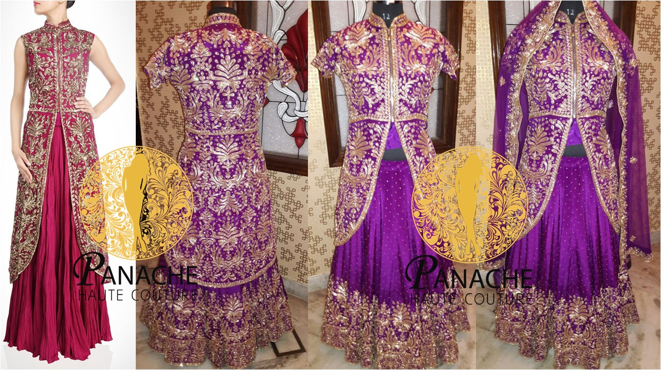 Purple color jacket lehenga - Replica Made by Panache Haute Couture