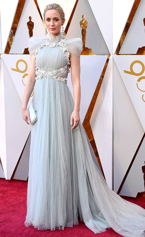 Emily Blunt in Blue Pale Gown