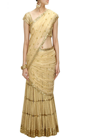 Golden Color Lehenga Saree
