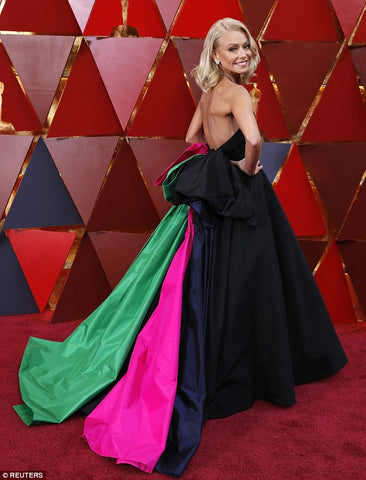 Kelly Ripa in Black Gown with Pink and Green Fabric