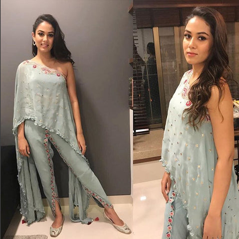 Mira Kapoor in Shoulder Asymmetric Top with draped trouser