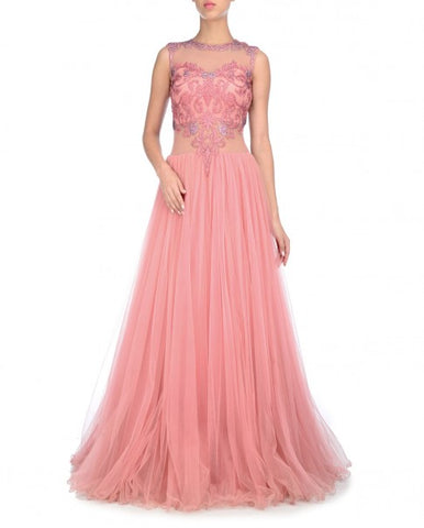 Pink Indo Western Gown