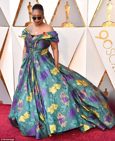 Whoopi Goldberg in floral Christian Siriano Dress
