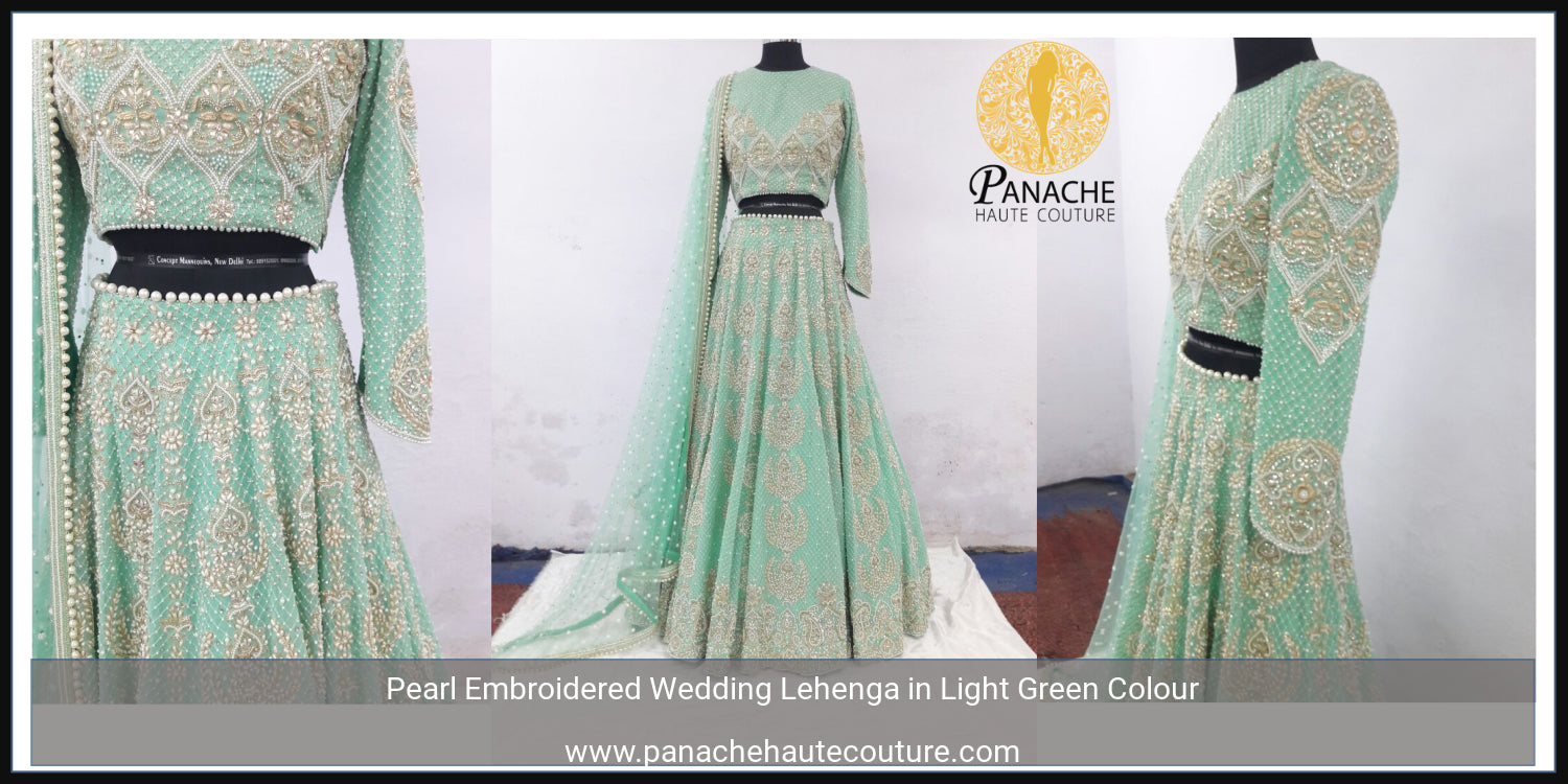 Pearl Embroidered Lehenga Choli in Light Green Colour