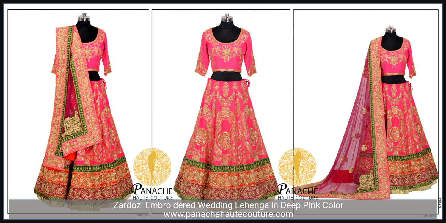 Pink Colour Zardozi Wedding Lehenga Choli