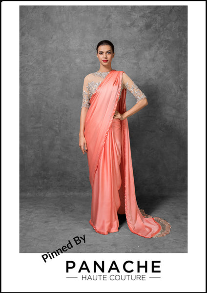 Peach Color Satin Saree Embroidered Blouse