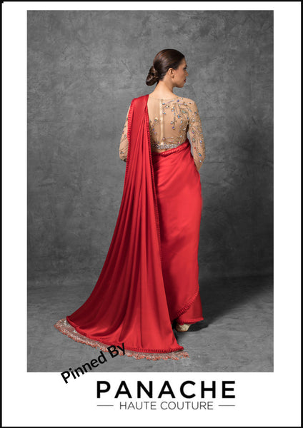 Red Color Satin Saree Embroidered Blouse