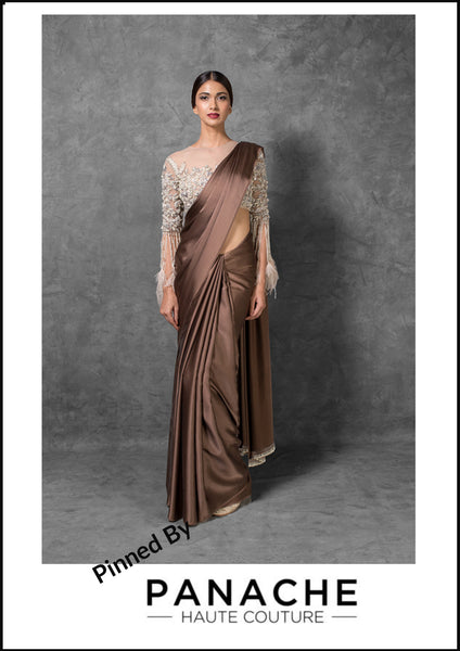 Chocolate Brown Color Satin Saree Embroidered Blouse