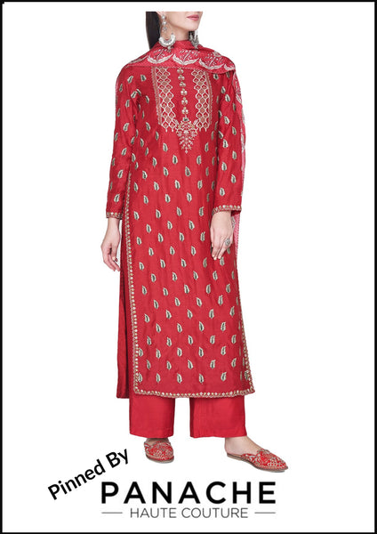 Red Color Silk Salwar Kameez