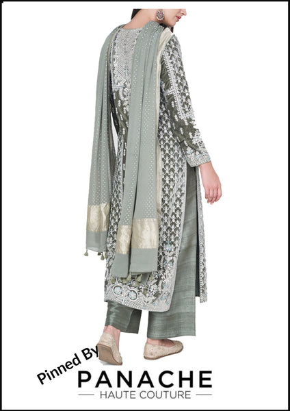 Pastel Green Color Velvet Silk Salwar Kameez