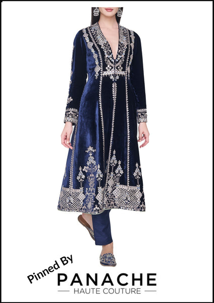 Navy Blue Color Velvet Silk Anarkali Salwar Kameez