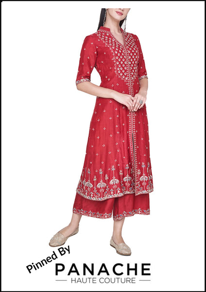 Red Color Gotta Patti Salwar Kameez