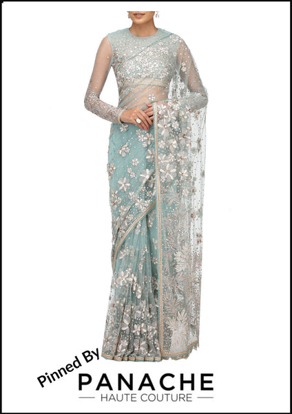 Aqua Color Designer Saree in Net