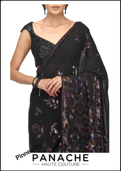 Black Color Sequin Work Designer Saree