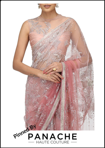 Dusty Pink Color Designer Saree