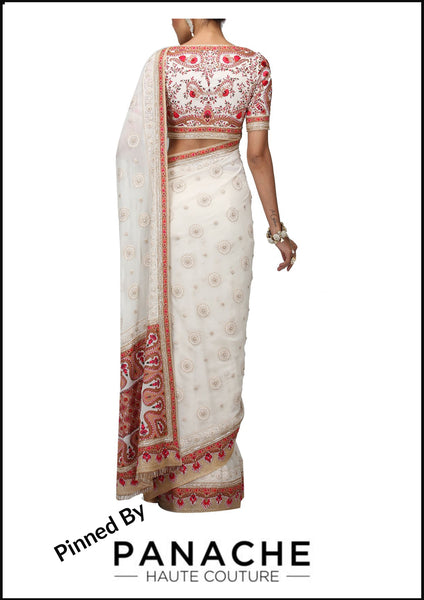 Ivory Color Designer Chikankari Saree