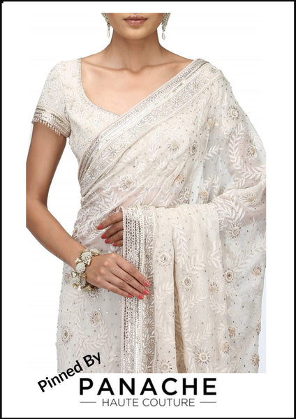 White Color Chikankari Designer Saree