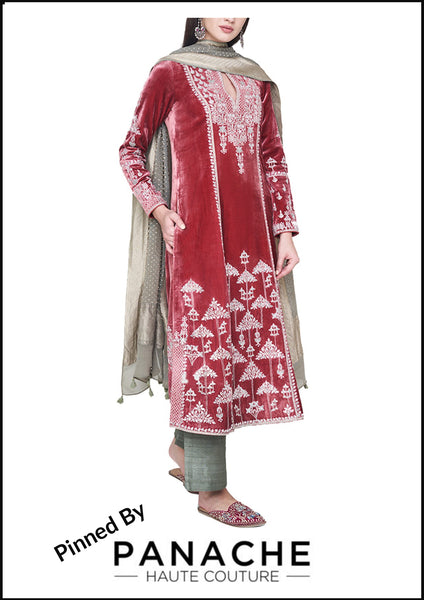 Red Color Velvet Silk Salwar Kameez